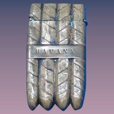 Figural banded Havana cigars match safe, brass, c. 1895
