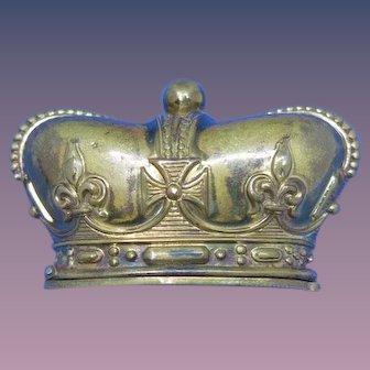 Figural crown match safe, brass, c. 1890