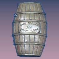 Champagne barrel match safe advertising Exposition Vienne 1892, Noel & Pattard, Grand Hotel, Monte Carlo &Duminy & Co., AY, Champagne