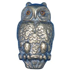 Figural owl with glass eyes on tree branch, match safe, brass, c. 1895