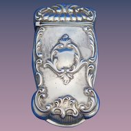 Foliate motif match safe, sterling by Gorham Mfg. Co. , mfg. #1150, 1897