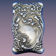 Rococo motif match safe, sterling by Unger Bros., cat. #2555, 1903