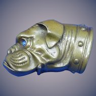 Figural boxer dog match safe with glass eyes, brass, c. 1895