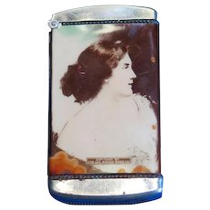 Attractive lady/Brookfield Rye advertising match safe, celluloid wrap, Copyright by The Geo. Bieler Sons Co., c. 1910