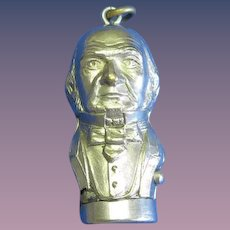 Figural bust of Wm. Gladstone match safe, push button lid release, nickel plated brass, c. 1895