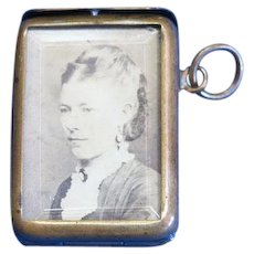 Photo match safe with beveled glass, nickel plated brass, Rd. #398,045, c. 1902