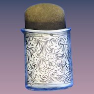 Unusual sterling match safe with suede insert, made in Austria imported into USA, c. 1895