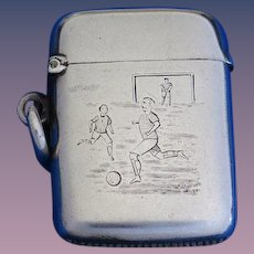 Football/soccer motif match safe by Henry Matthews, 1894 Birmingham sterling hallmarks