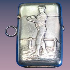 Boxing motif match safe, nickel plated, push button lid release, c. 1895