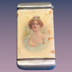 Buncher & Haseler advertising / attractive young lady match safe, celluloid wrapped by Whitehead & Hoag, c. 1905