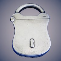 Figural padlock, sterling by Arthur & John Zimmerman, Birmingham 1906 hallmarks