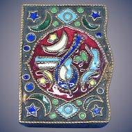 Arabic design match safe, enamel on brass, c. 1895