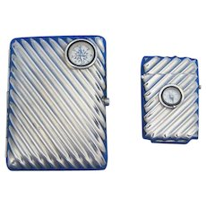 Fluted design match safe & cigarette case with working compasses, c. 1900
