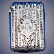 Vertical line design match safe, sterling by Webster Co., 1910