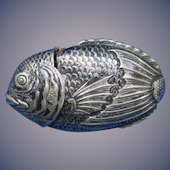Figural tai fish match safe, silver plated, dated 3-20-88