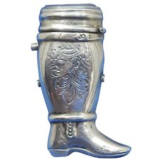 Figural boot, 833 silver by Willem Johannes Stekelenburg, c. 1872