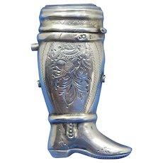 Figural boot, 833 silver by Willem Johannes Stekelenburg, c. 1872