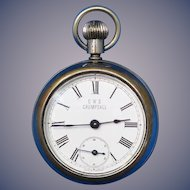 Pocket watch match safe, back opening, c. 1895