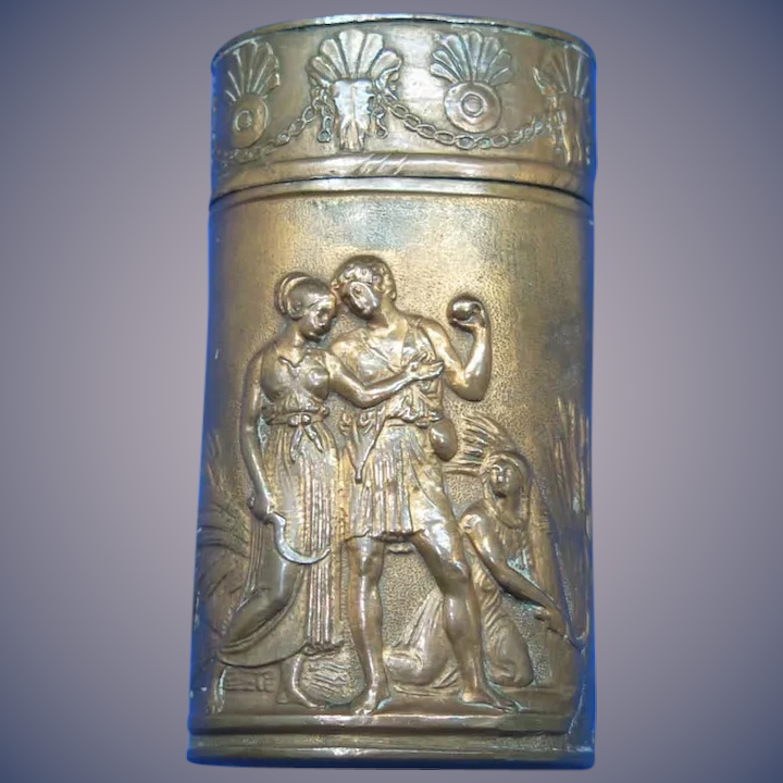 Young couple/family scene/solider & sweet heart match safe, copper, c  1885