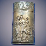 Young couple/family scene/solider & sweet heart match safe, copper, c. 1885