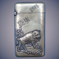 1901 Pan American Exposition  match safe, with bold buffalo image