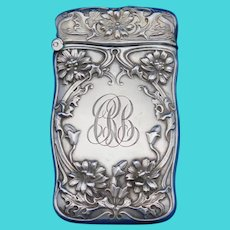Floral motif match safe, sterling by Gorham Mfg. Co., 1908