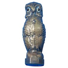 Figural owl match safe with wax seal, brass, c. 1890, rare