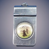 Lady golfer motif match safe, nickel plated brass, c. 1900