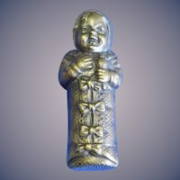 Figural baby wrapped in bunting match safe, c. 1890