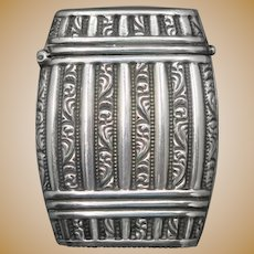 Figural French wine barrel match safe, sterling, c. 1900