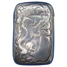 Rampant lion motif match safe, sterling, by R. Blackinton & Co., c. 1900