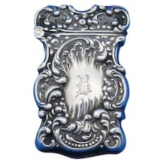 Scroll design match safe, sterling by Unger Bros., c. 1900