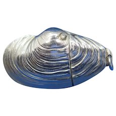 Figural clam shell match safe, silver plated, c. 1890