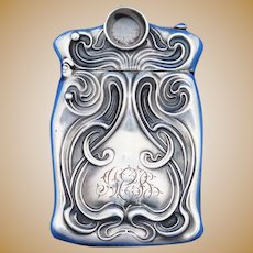 Art Nouveau swirl design match safe w/ cigar cutter, sterling by Unger Bros., c. 1900.
