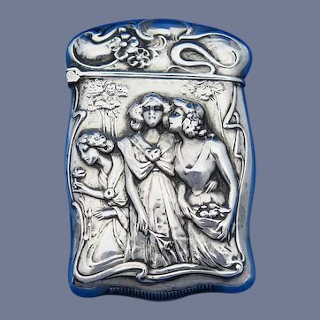 Three maidens in garden motif match safe, sterling by F. S. Gilbert, c. 1900