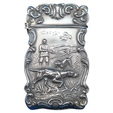 Hunting motif match safe, G. Silver, c. 1900