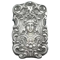Repousse' female image with strap work match safe, sterling by Wm Kerr, c. 1895, unusual