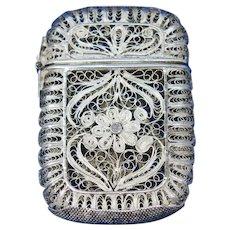 Filigree match safe with floral design, 900 silver, c. 1895