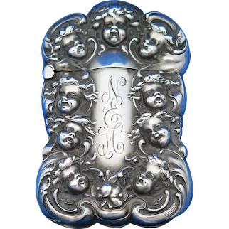 Cherub motif match safe, sterling by Unger Bros., c. 1904