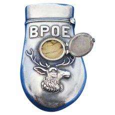 BPOE hidden photo match safe, enamel & sterling by Simons, c. 1900