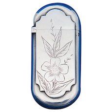 Early Gorham match safe, floral and foliate design, sterling, #61, date mark for 1883