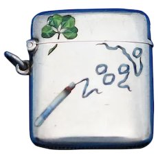 Four leaf clover & smoking cigarette motif, match safe, enamel on 935 sterling, c. 1900