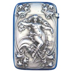 Aphrodite Rising from the Waves match safe, sterling by Gorham Mfg. Co., #1300, 1899