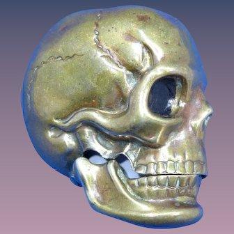 Figural skull match safe, brass, c. 1890