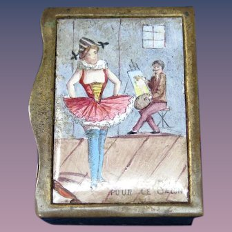 Risque' French match safe, enamel on brass, c. 1890