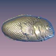 Figural tai (sea bream) fish match safe, Japanese, brass, c. 1895