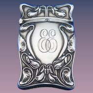 Floral motif match safe, sterling by Simons, Bro. & Co., cat. #1845,  c. 1900