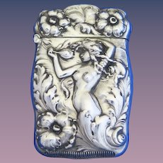 Nude and floral motif match safe, sterling by Webster Co., gold gilded interior, c. 1900