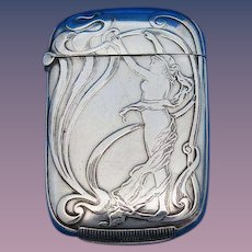 Art Nouveau standing nude match safe, sterling by Webster Co., c. 1900