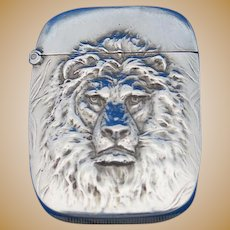 Lion motif match safe, sterling by Aikin, Lambert & Co., gold gilded interior, c. 1900